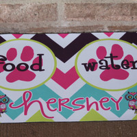 Personalized Dog or Cat Bowl Mat - Monogram Your Pet - Dog or Cat Tag - Design Your Own - Made in USA