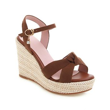 Women's High Heel One Word Buckle Wedges Sandals