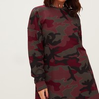 Burgundy Camo Loop Back Sweater Dress