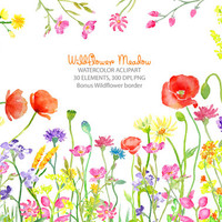 Watercolor clipart - Wild flower meadow border instant download for greeting cards, wedding card, invitations