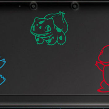 1st Generation Pokemon Starters 3DS/3DS XL or Laptop Sized Decals, Choose from Bulbasaur, Squirtle, or Charmander.