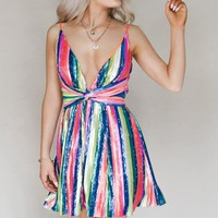 Lucky Charm Metallic Rainbow Twist Mini Dress