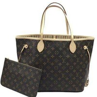 DCCKHI2 Louis Vuitton Neverfull MM Monogram Beige M40995 Handbag Louis Vuitton Bag