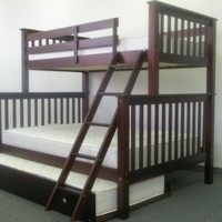 Bedz King Bunk Bed with Twin Trundle, Twin Over Full Mission Style, Cappuccino