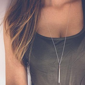 Simple Sliver Gold-color Chain Necklace Women's Lariat Charm Bar Necklaces & Pendants Gifts Jewelry