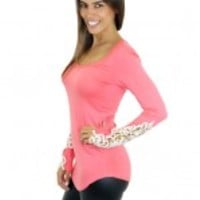 Coral Top With Crochet Sleeves