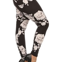 Plus Size Ghost Rose Floral Print Leggings