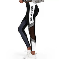 Onewel Victoria's Secret PINK Women's Fashion Print Exercise Fitness Gym Yoga Running Leggings Sweatpants Black&White