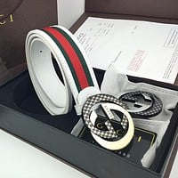 GUCCI Hot Fashion Men's and Women's Stitching Color Double Buckle High-End Belt
