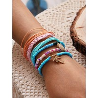 6pcs Pineapple & Coconut Tree Decor Bracelet