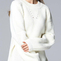White Boyfriend Style Ribbed Knit Jumper