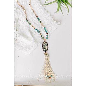 Turquoise Beaded Necklace with Accent Rocks & Tassel