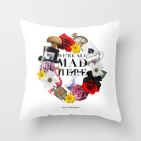 Alice In Wonderland: MAD Throw Pillow by S T E L L A  N O V A