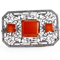Antique Art Deco Red Glass Stone Brooch -  1920s Silver Tone Rhodium Plated Filigree Vintage Costume Jewelry Pin / Faux Carnelian Squares
