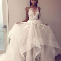 Prom Dress With Appliques Lace White Evening Dresses
