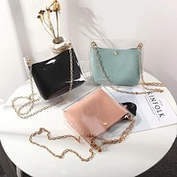 Women Transparent Bucket Bag Clear PVC Jelly Small Shoulder Bag Female Chain Crossbody Messenger Bags Design Luxury Handbag