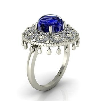 Portia Cabochon 8mm Round Lab Created Blue Star Sapphire on 14K or 18K White Gold Mystique Peacock Lamp Cocktail Ring