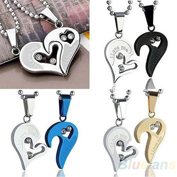Mens Stainless Steel Love Heart Jigsaw Pendant Necklace = 1651269764