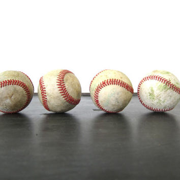 collection of old baseballs 4 leather balls red stitching Stitches Boy Girls Child's Room Decor Sports Den Man Cave Athletic photo prop