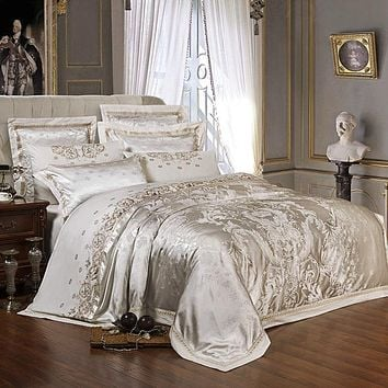 Silver Gold Luxury Silk Satin Jacquard duvet cover bedding set Embroidery bed set sheet/Fitted sheet set