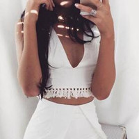 White  V-Neck Fringed Two Piece Set 12632