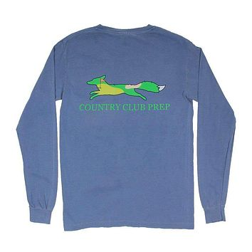 19th Hole Longshanks Logo Long Sleeve Tee in Blue Jean by Country Club Prep