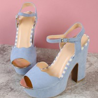 Faux Suede Scalloped Trim Single Band Chunky Platform Heel with Stripe Detail BLUE