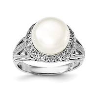 Sterling Silver Rhodium-plated 101mm White FWC Pearl and CZ Ring