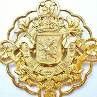 Miriam Haskell Brooch Coat Of Arms Heraldic Crown Gold Signed Vintage Lion Pin