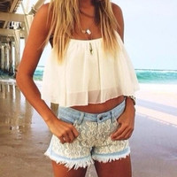 2014 Spring Summer Outfit White Flowy Crop Top Lace Shorts CHIFFON Hollow Yarn Shirt Crop TOP CS4203-in Blouses & Shirts from Apparel & Accessories on Aliexpress.com
