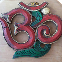 Vintage Hand Painted, Hand Carved Om Wall Hanging   Buddhist Decor   Red and Green Om   Free Shipping in Continental US   Om Decor