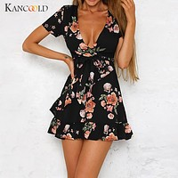 Women Bohemian V Neckline Mini Dress Flower Print Short Sleeve Irregular Beach Fashion Dress