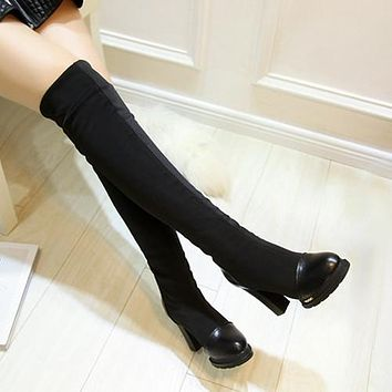 Black Women Over the Knee Boots Platform Elastic High Heels Winter Shoes Woman 2016 3386