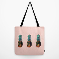 August special! Tote bag Lunch bag Peach colored tote bag with print of pineapples