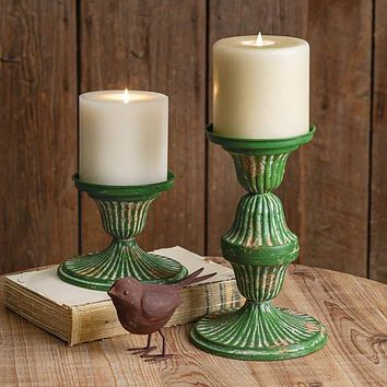 Set of 2 Metal Candle Holders
