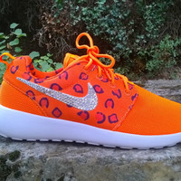blinged nike roshe run leopard sneakers athletic sport womens shoes orange color custom with crystal swarovski