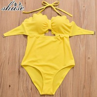 New Summer Yellow Bathing Suits Women One Piece Swimsuits Push Up Swimwear High Waist Bikini Set Lady Maillot de bain femme