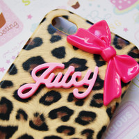 Juicy Leopard Cheetah Print with Sleek Hot Pink Bow Iphone 4 4s Cell Phone Case