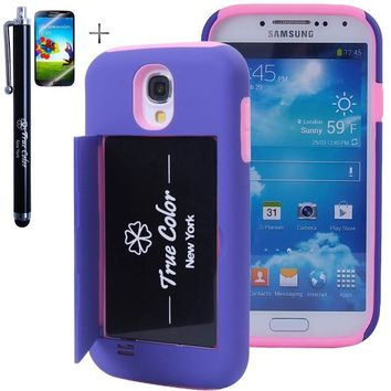 Rugged High Impact Credit Card Holder Wallet Soft + Hard Hybrid Combo Case Cover for Samsung Galaxy S4 SIV i9500 + Stylus + Screen Protector - Purple & Pink