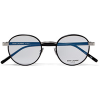 Saint Laurent - Round-Frame Silver-Tone and Acetate Optical Glasses