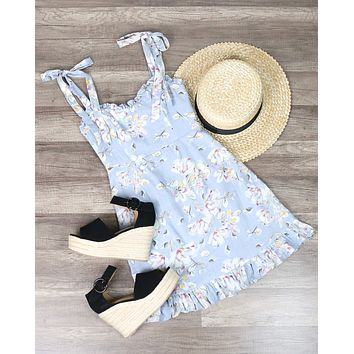Floral Dress with Ruffled Hem and Shoulder Ties in Grey
