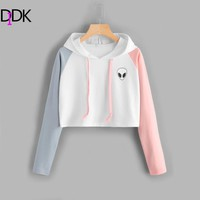 DIDK Alien Print Contrast Sleeve Graphic Hoodie Women Patchwork Long Sleeve Sporty Pullovers Sweatshirts 2017 Casual Sweatshirt