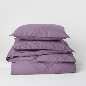 Washed Cotton Duvet Cover Set - Pink - Home All   H&M US