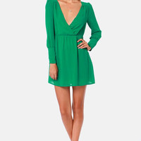 On the Wrap Jungle Green Long Sleeve Dress