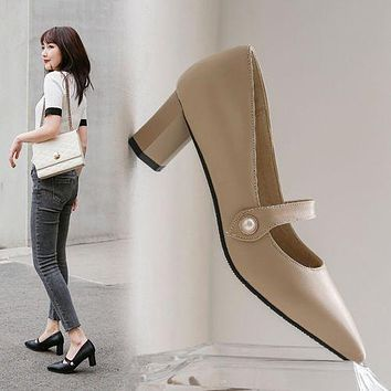 Women Pointed Toe Pearl High Heel Chunky Pumps