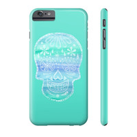 Turquoise Sugar Skull Phone Case