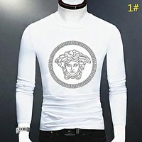 Versace New fashion diamond human head men long sleeve top t-shirt 1#
