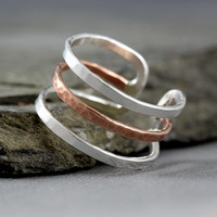 Minimalist cuff ring, band ring, sterling silver and bronze, modern, simple designs, 3 lines ring, Wearable art, Mother's Day Gifts