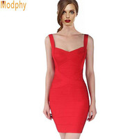 Women sexy bandage dress summer front crosses 8 solid colors spaghetti strap stretch bodycon party ball dress dropship HL8675
