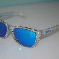 Oakley Frogskins Crystal Collection Sunglasses OO9013-A6 Polished Clear/Sapphire